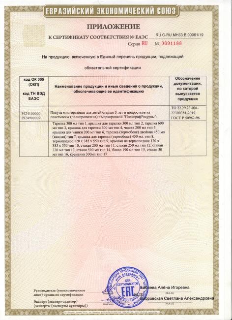 Сертификат соответствия посуда 2